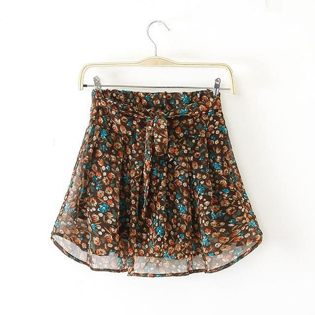 Aliexpress.com: Koupit ženy krajky Faldas y šortky horké léto styl Beach Culottes modrá Tisk Flower ženské Short Pantskirt Mini sukně Feminino šortky ze spolehlivých šortky teplé dodavatelé na Aaliyah módní Group Ltd