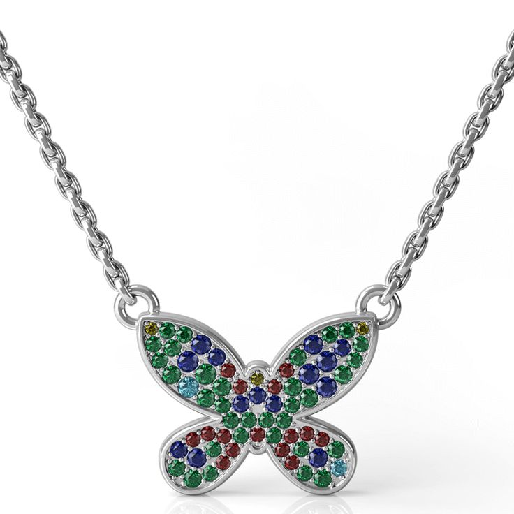 Pave set butterfly necklace in white gold featuring emeralds, sapphires, rubies and aquamarines.
