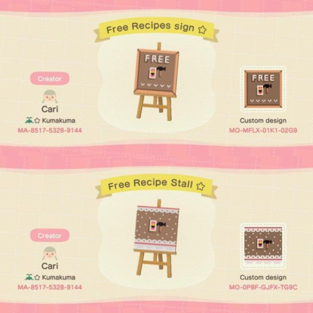 Free Diy Recipe Stall And Sign Designed By Acnh Custom Designs New Animal Crossing Animal Crossing Game Animal Crossing Qr