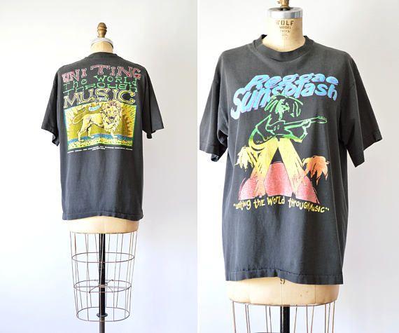 90s Concert Tee Reggae Sunsplash T-Shirt Mens T Shirt L