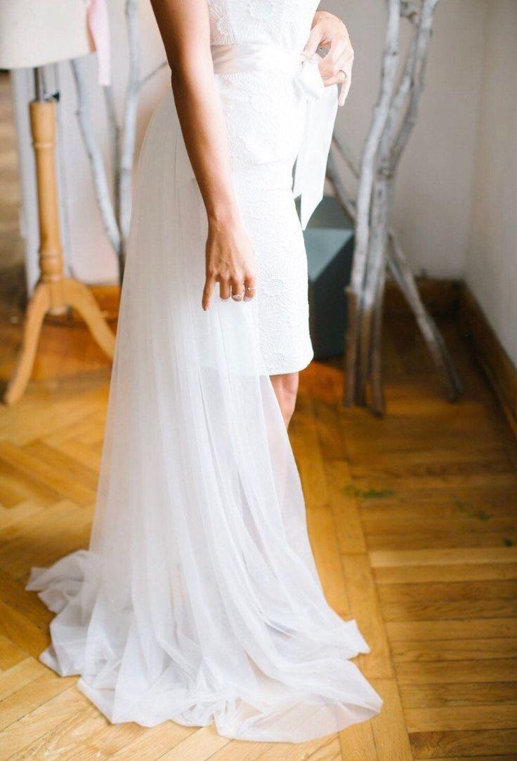 Detachable bridal skirt detachable tulle skirt overlay