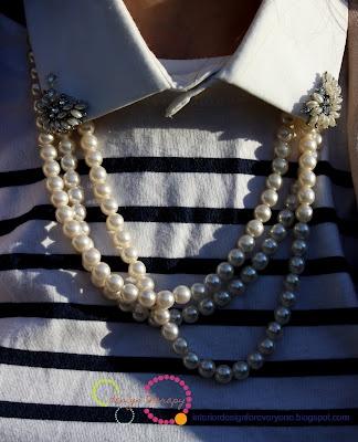 pearls and detashable collar