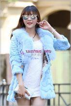 Fashion Quality skyblue Fur Coats,shearing fur ,fox collar rabbit fur coat. Best Seller follow this link http://shopingayo.space