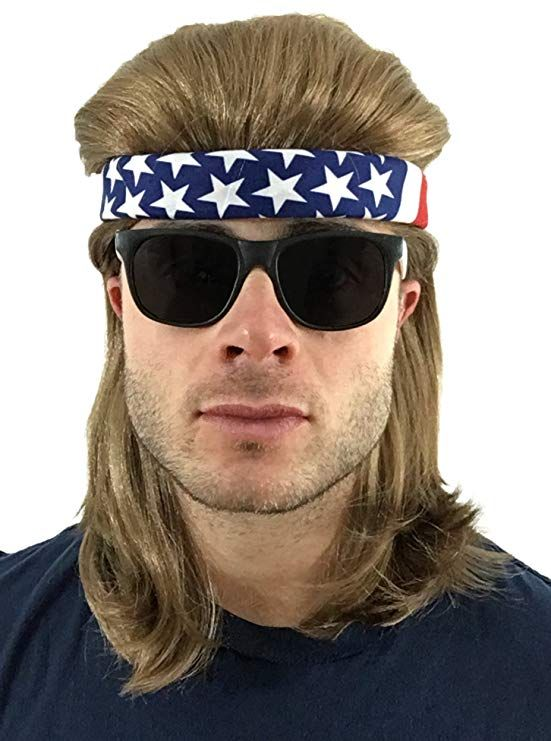 8e2be6ec9a721 Brown Mullet Wig + USA Bandana + 2-Tone Sunglasses  Hillbilly Redneck Long  Funny Party Halloween Costume 80s Wig