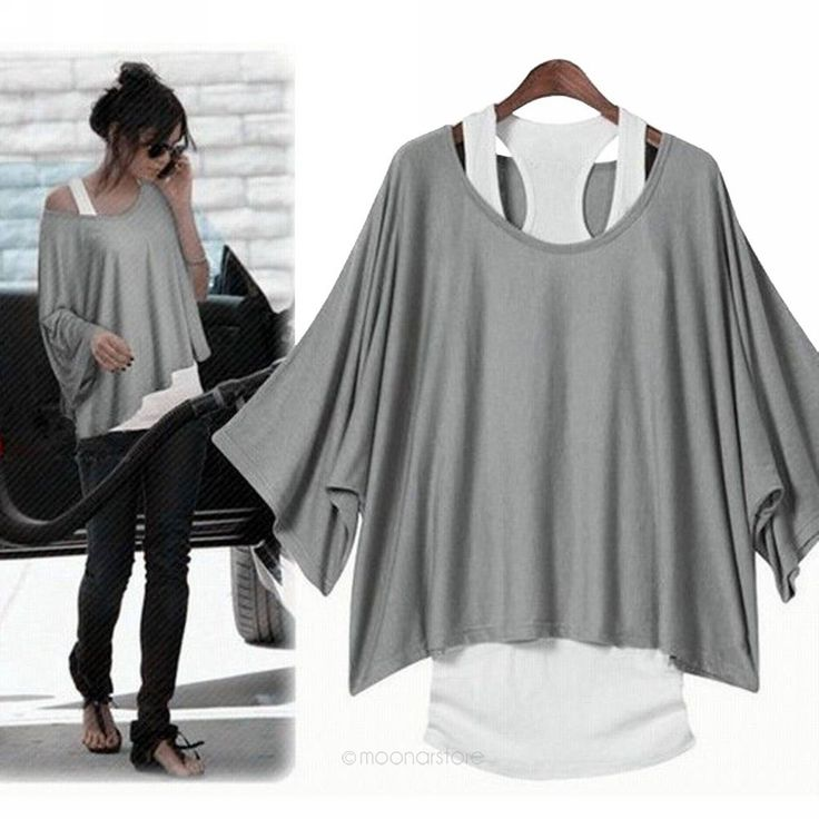 Sexy Womens 2 in 1 Hot Loose Batwing Tops Blouses T-shirt Tank VEST Fit UK 6-14 | eBay