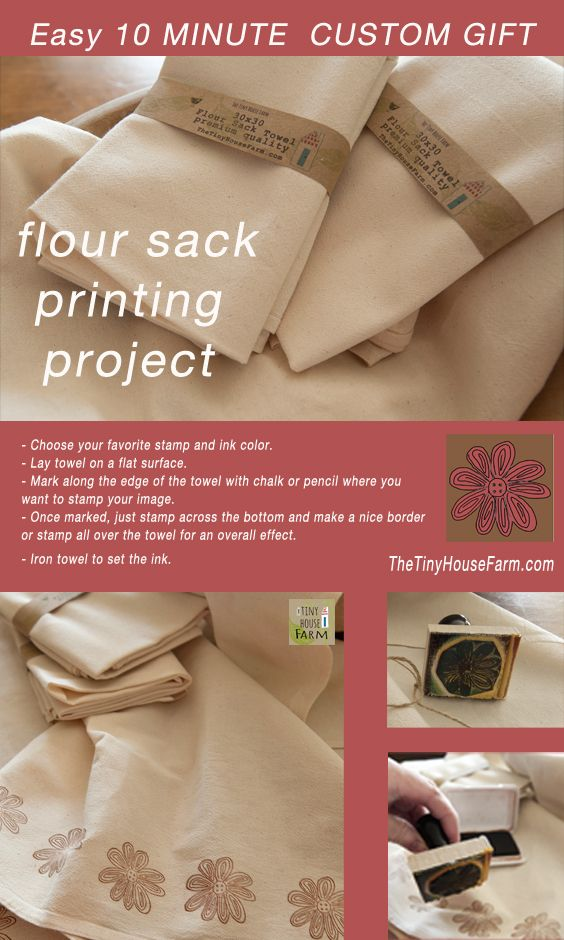 Use permanant ink for this project to prevent fading.  Flour sack towel craft project easy for kids. Try this simple flour sack towel printing project. Makes great gifts! www.thetinyhousefarm.com