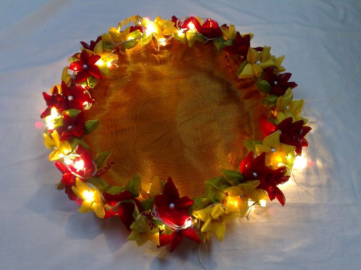 Image result for wedding aarthi plates with natural flowers