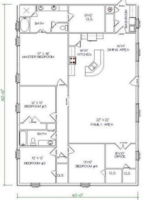 5 Bedrooms and 2 Bathrooms Barndominium Floor Plans ...