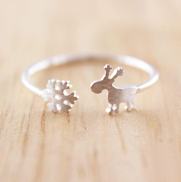 Простые снежинка оленята стерлингового серебра 925 открытые кольца для женщин Zakka стиль серебряные ювелирные изделия Bague роковой купить в магазине Yiwu Anne Jewelry Factory на AliExpress