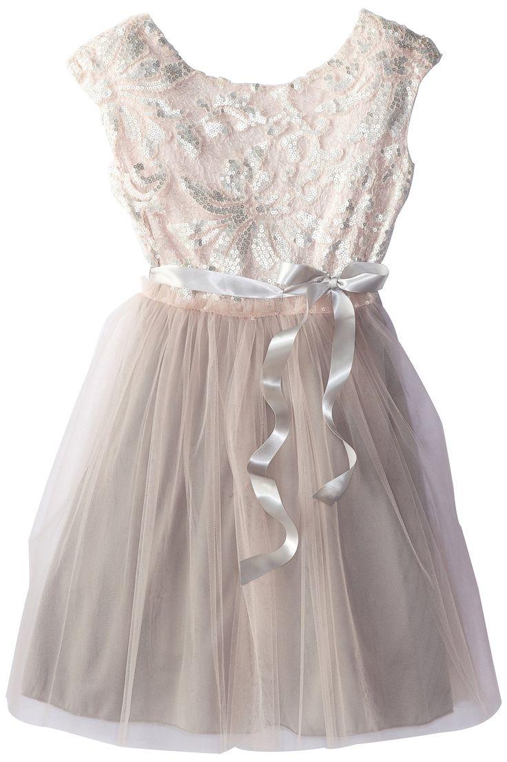Speechless Big Girls' Cap Sleeve Glitter Brocade Dress, Blush, 16