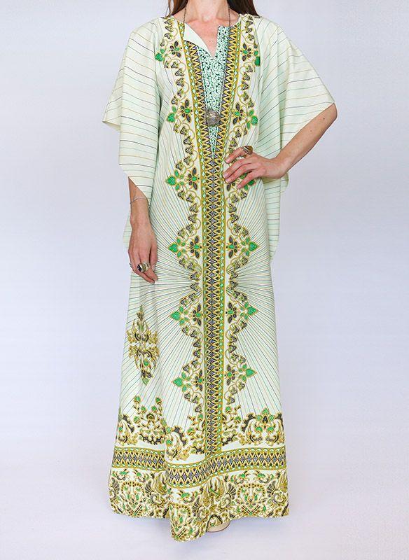 70s vintage Batik kaftan jurk