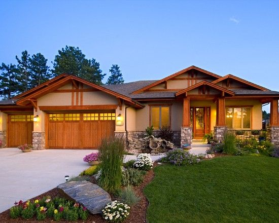 Single story craftsman style homes home colors put for Craftsman landscape design ideas