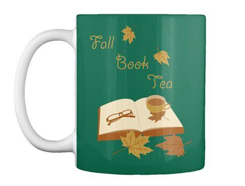 Fall Book Tea Forest Green Mug Front