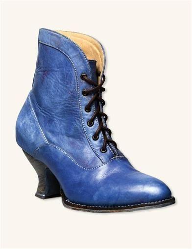 Bonnie Blue Short Boots | Blue Victorian Lace Up Ankle Boots