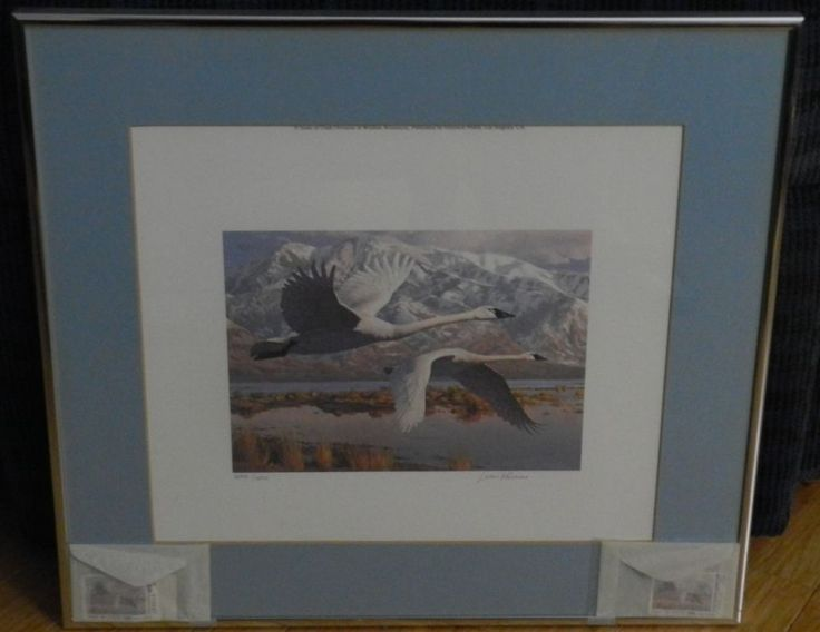 1985 Utah Duck Stamp Print & Stamps - First of State - Matted, Framed/W Stamps Original Price 1985 $125.00, less frame, matting, and stamps. Valuation Today. $225.00 less extras, bid starting at 79.99