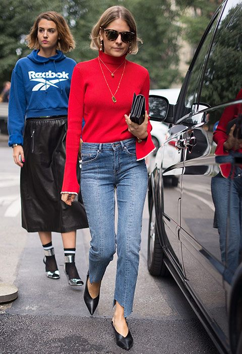 Step-hems are the new-season update on your fave blue skinnies (which you can totally DIY, btw). Wear with a tucked-in red polo neck and layered gold pendants. Pointed courts complete the win