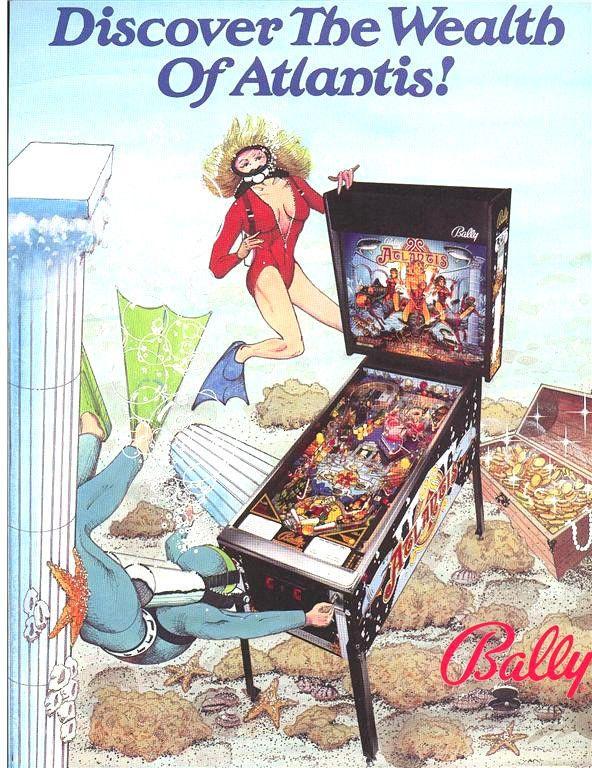 Bally ATLANTIS 1989 Original NOS Pinball Machine Flipper Amusement Sales Flyer #BallyAtlantis