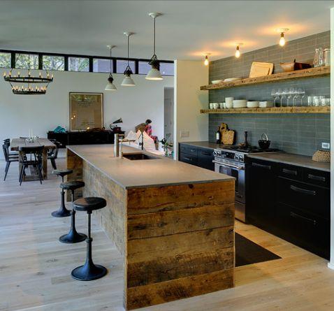 Really like everything, open shelves, black cabinets, re-purposed wood island, stools, light fixtures. tile backsplash.