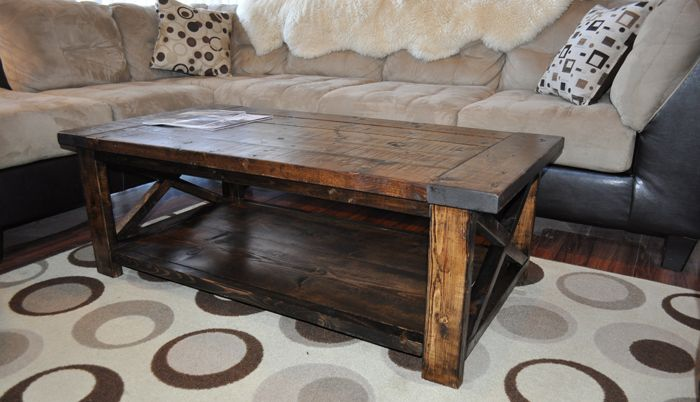 Build a distressed farmhouse coffee table for under 60 dollars!