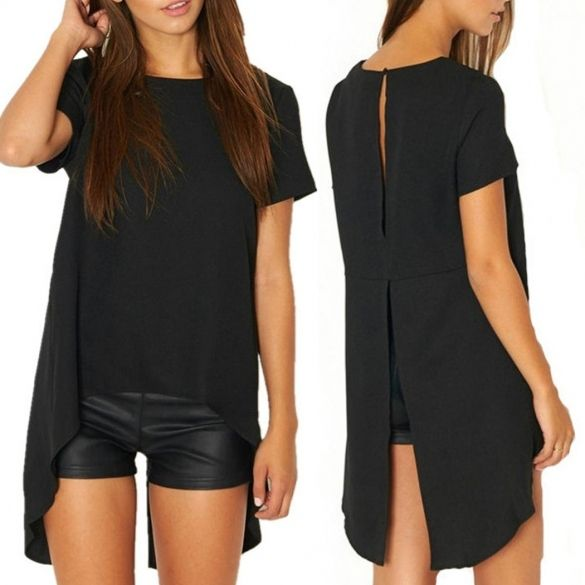 Material: Polyester Color: Black Collar: O-Neck Sleeve: Short Sleeve Style: Blouse Pattern: Solid Occasion: Casual Garment Care: Hand-wash and Machine washable, Dry Clean Unique style, create a illusion for stunning curves, make you more beautiful, fashion, sexy and elegant. Asian Size US Size EU Size UK Size AU Size Shoulder Sleeve Chest Front Length Length S XS(4) 34 6 8 34 cm 13.3 inch 18 cm 7 inch 92 cm 35.9 inch 59.5 cm 23.2 inch 85 cm 33.2 inch M S(6) 36 8 10 35 cm 13.7 inch 19 cm…