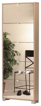 Shoe Rack with 5 Folding Single-Depth Mirror Doors With Natural Oak Base contemporary-shoe-storage