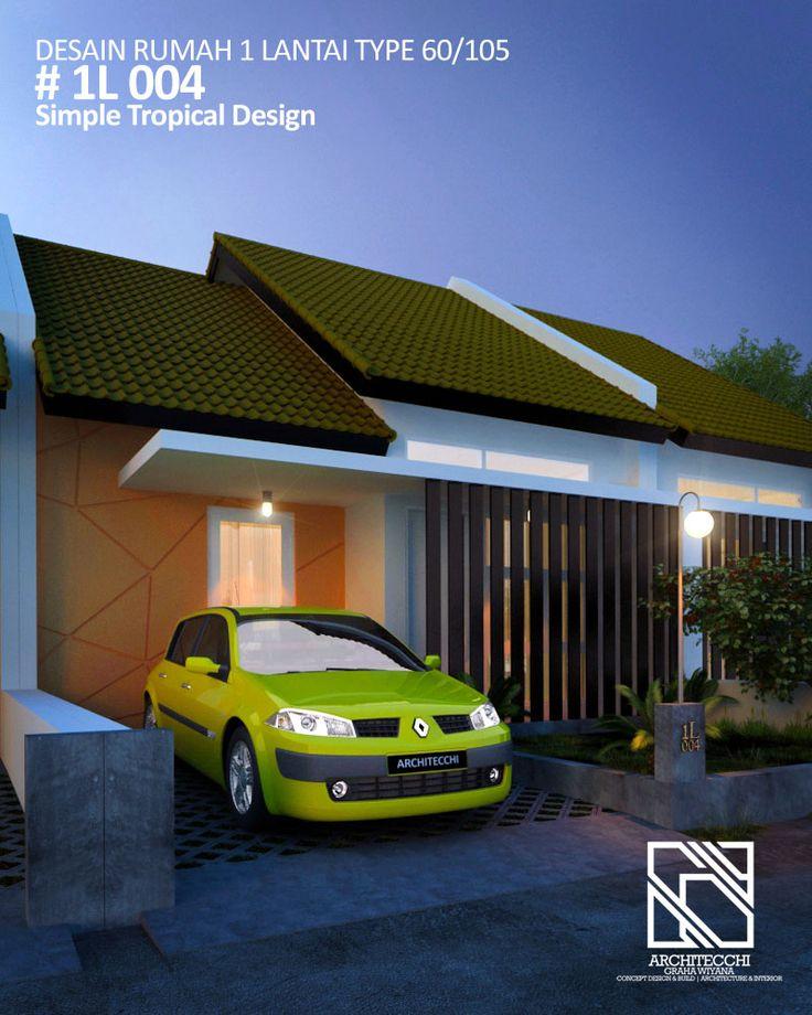 Desain Rumah 1 Lantai 1L004 Simple Tropical Design