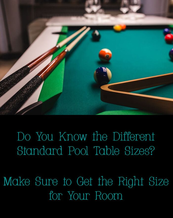 standard pool table sizes