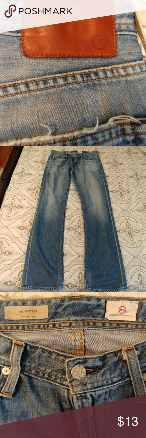 Men's Adriano Goldschmied Jeans Men's Adriano Goldschmied Jeans. Good Used Condition. Small Tear On Side Of Leg As Shown In Picture 7. Size 34. Straight Leg. Ag Adriano Goldschmied Jeans