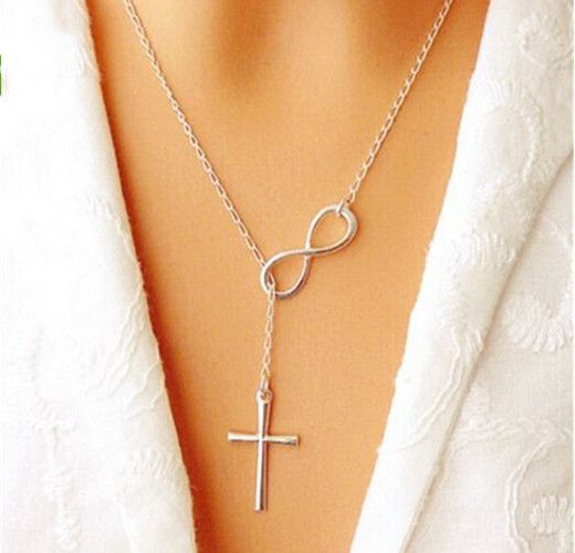 New Lovely Chic Infinity Cross Long Silver Chain Pendant Fashion Necklaces For Women Jewelry Gift