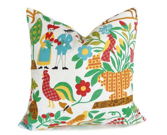 Country Pillows, Farm House Cushion Covers, Colorful Folk Art, Eclectic Throw Pillows, Boho Chic Home Decor, 16x16, 18x18, 20x20