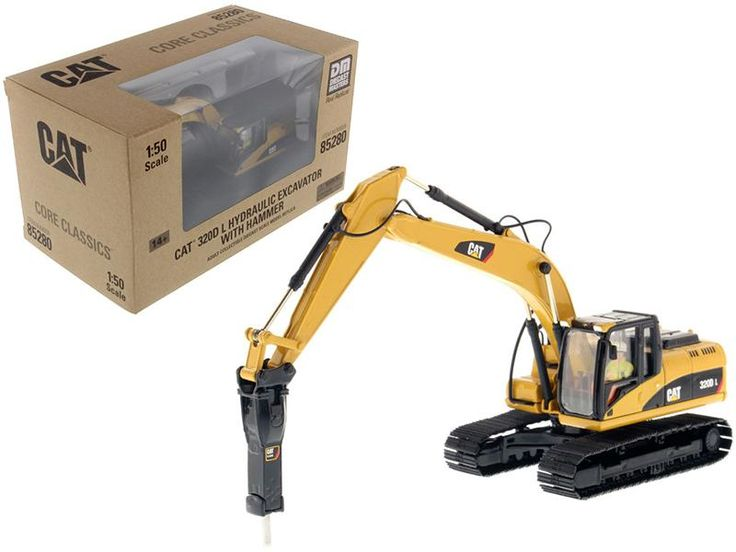 CAT Caterpillar 330D L Hydraulic Excavator with Hammer Core Classics Series with Operator 1/50 Diecast Model by Diecast Masters