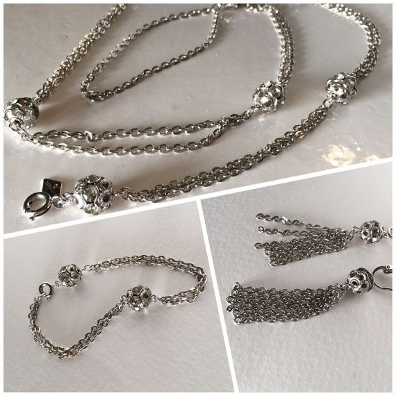 78 best sarah coventry images on pinterest coventry vintage sarah coventry rhinestone demi parure double chain by ravished aloadofball Images