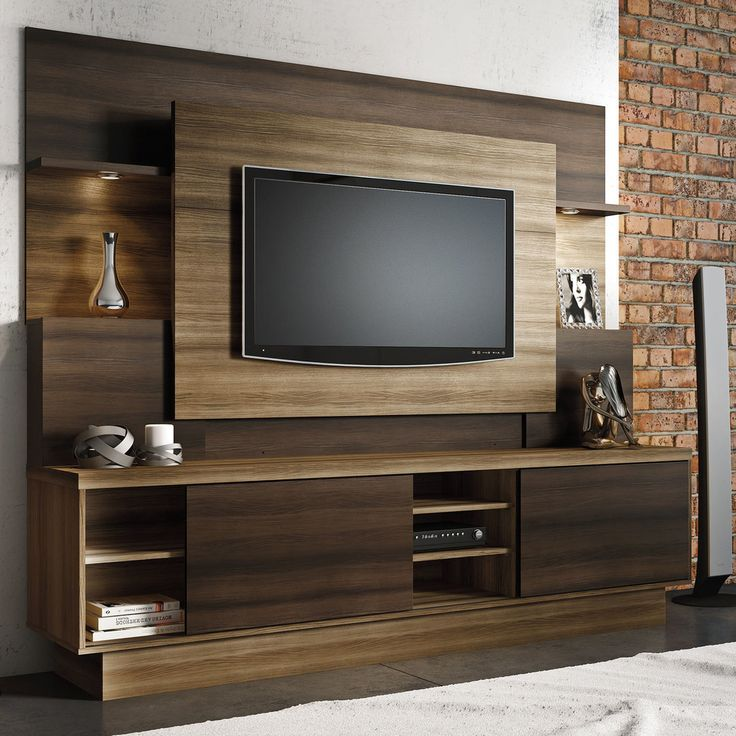 Estante home para tv at 55 polegadas aron linea brasil for Lcd wall unit designs for hall