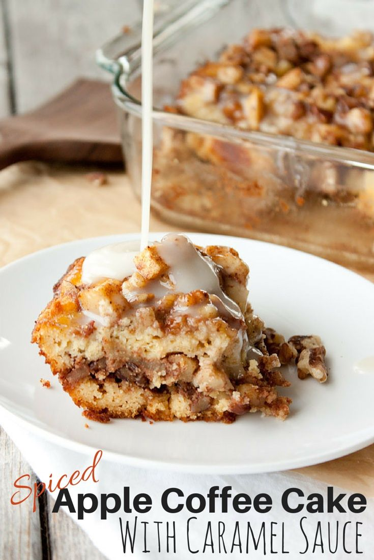 Grain Free Spiced Apple Coffee Cake with Caramel Sauce | simplerootswellness.com
