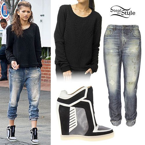Zendaya Cable Sweater Wedge Sneakers Fashion Pinterest Cable Nice And Zendaya Style