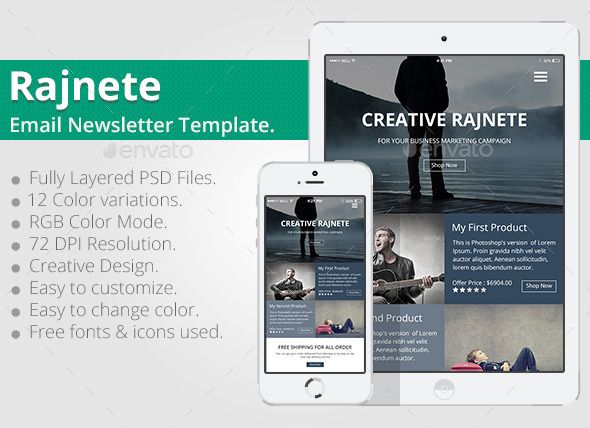 Rajnete Email Newsletter PSD Template Psd templates, Email - free email newsletter templates word