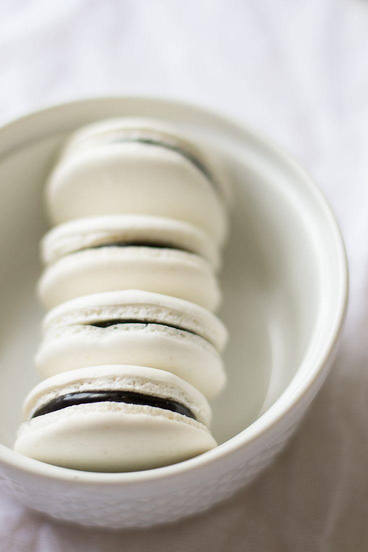 Chocolate Coconut Macarons | siftandwhisk.com More