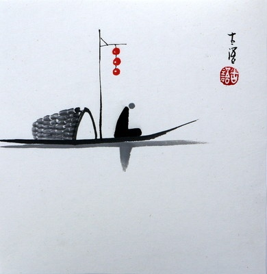 "chinese small painting ""zen thinking' 6.7x6.7"" ORIGI oriental asian fengshui art"