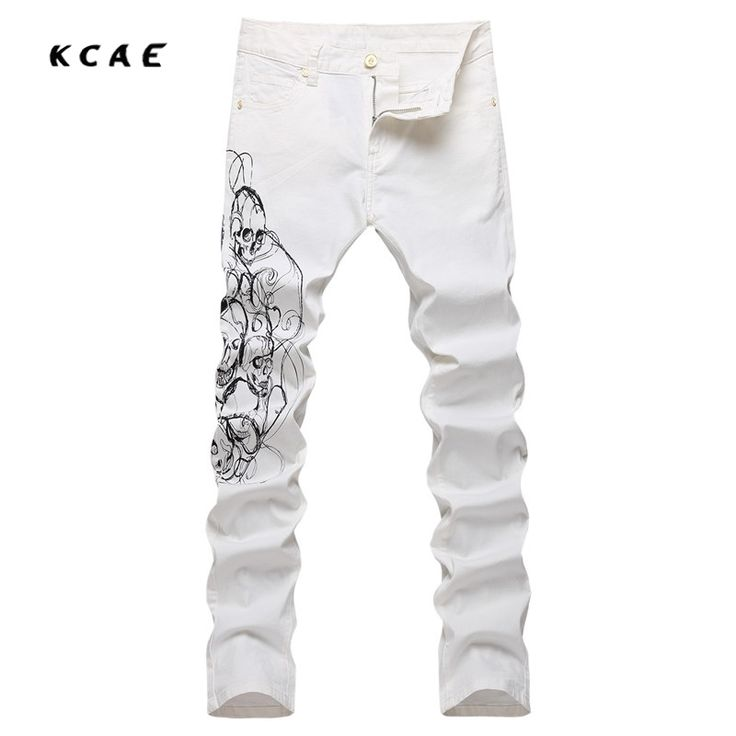 49.00$  Buy here - http://aliokv.shopchina.info/1/go.php?t=32817355729 - 2017 Brand Fashion Designer Jeans Men Straight Slim White Color Printed Mens Jeans Denim Pencil Pants Slim Fit Cotton Trousers  #buyininternet