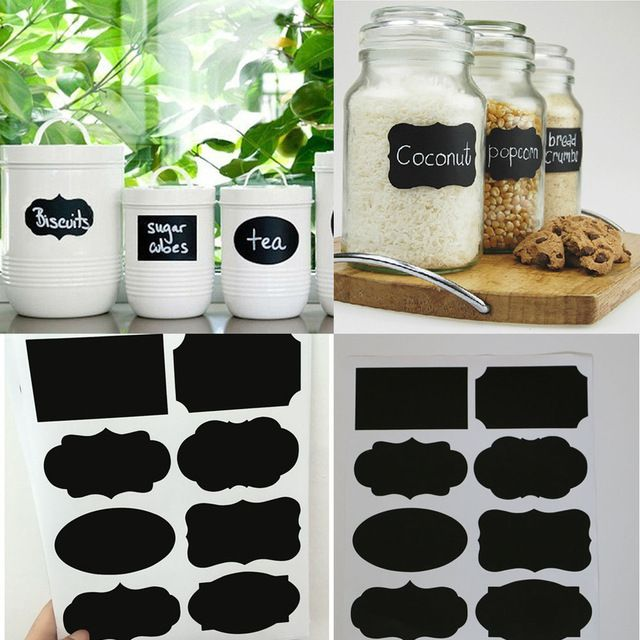 40PCS New Wedding Home Kitchen Jars Blackboard Stickers Chalkboard Lables NG4S