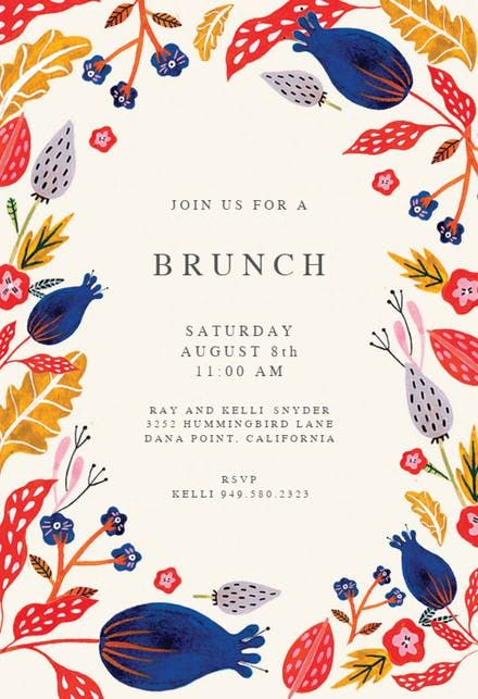 rustic floral brunch lunch invitation invitation lunch