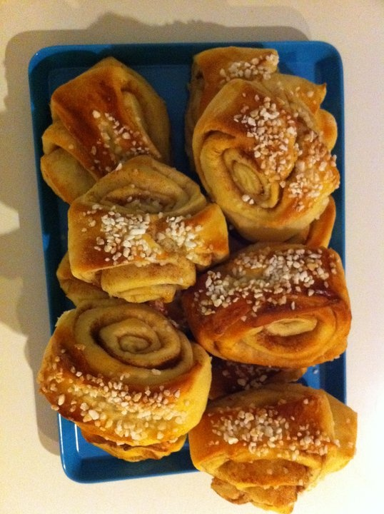"""These are """"korvapuusti"""" a finnish """"pulla"""" to be eaten with a good cup of coffee or a glass of cold milk. #finnish #cinnamonroll"""