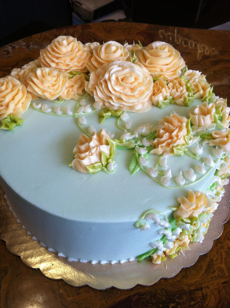 Cake Decorating With Buttercream Flowers : Light blue and peach buttercream flower cake My Cakes ...