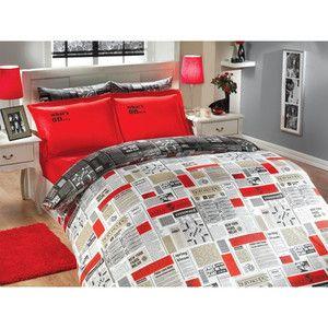 Červené povlečení s prostěradlem News, 200x220 cm