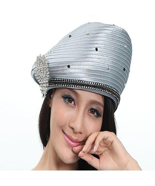 689c65833e8f7 Girl Church Hat Satin Hat Formal Dress Beret Brimless Stones Silver Grey  CB11I09NV5V in 2019
