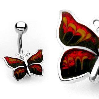 Navlepiercing med rød sommerfugl 34 kr