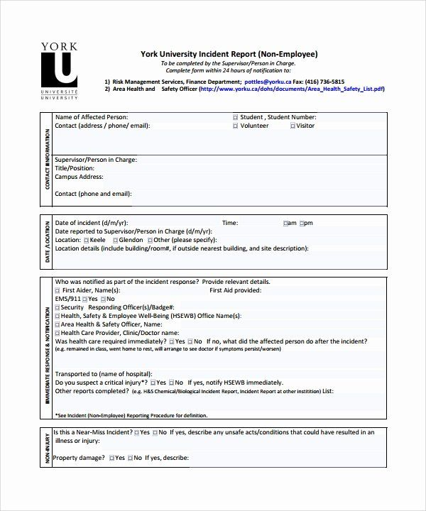 Accident Report Form Pdf Beautiful 26 Sample Incident Report