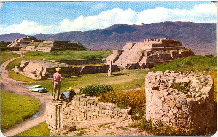 https://flic.kr/p/UenDMt | Monte Alban Ruins Driving Oaxaca Mexico | The good old days of Mexican tourism when you could drive your car right into the ruins at Monte Alban, Oaxaca. Vintage postcard