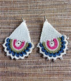 Tış İşi Etnik Küpe Beyaz - Tığ İşi Pullu Küpe Beyaz -crochet earring