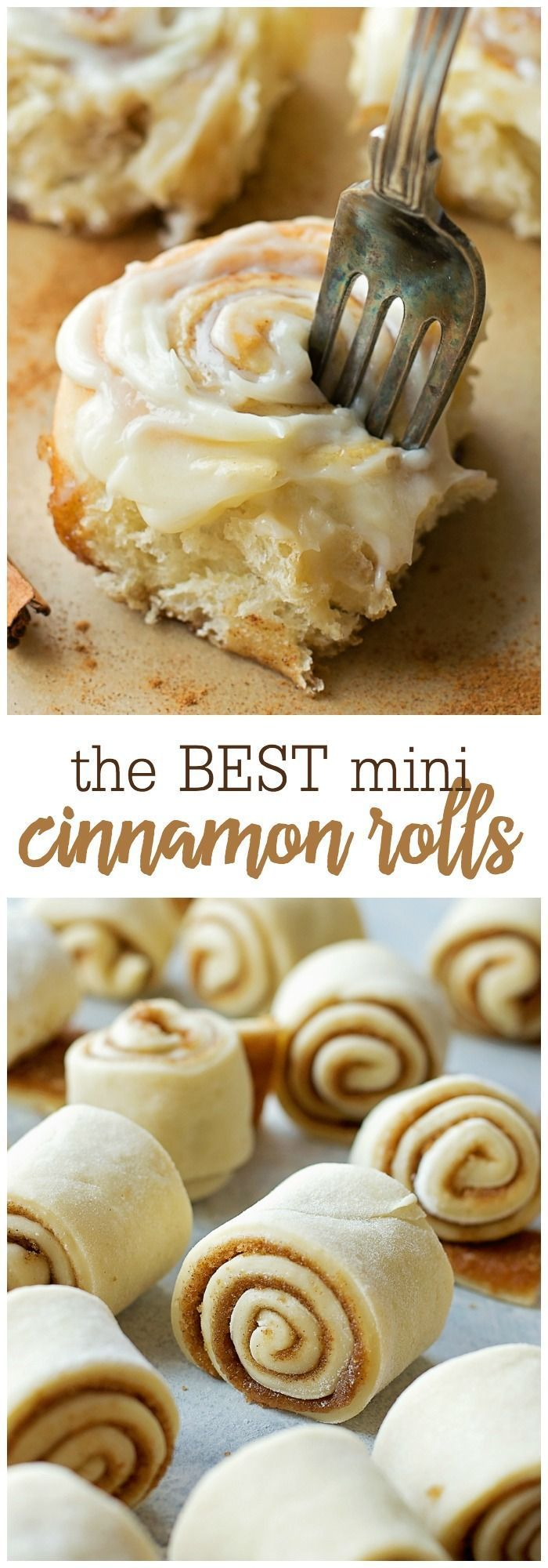Best Ever Mini Cinnamon Rolls - perfect for big gatherings, and ready in just under 90 minutes!! Give these a try and you'll fall in love with their tender, sweet centers and irresistible cream cheese frosting!